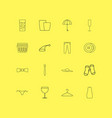 beauty dress and clothes linear icon set simple vector image vector image