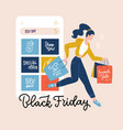 black friday square banner smartphone with vector image