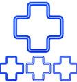Blue line plus logo design set vector image vector image