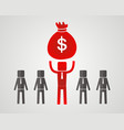 businessman raises a bag of money vector image