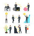 cartoon blockchain concept set with people vector image vector image