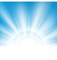 center sunburst light effect on clean blue sky vector image