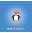 Christmas background with penguin vector image vector image