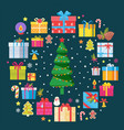 christmas tree and presents with symbols xmas vector image vector image