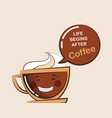 coffee emoji cup with funny quote vector image vector image