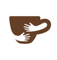 creative coffee cup and hands logo design cafe or vector image vector image
