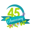Cute Nature Flower Template 45 Years Anniversary vector image vector image