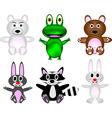 cute wild animal cartoon set vector image