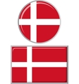 Danish round and square icon flag vector image vector image
