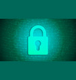 digital security lock on binary background vector image vector image