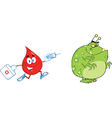 Drop of blood cartoon character vector image vector image