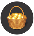 Easter Basket with Gold Eggs vector image vector image
