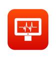 electrocardiogram monitor icon digital red vector image vector image