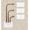 envelope and three arrows with blank papers vector image vector image