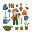 Farmer set icons vector image