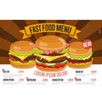 Fast food menu template vector image
