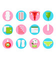 female hygiene products flat icons set vector image vector image