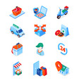 food delivery service - modern isometric icons set vector image