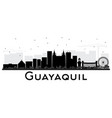 guayaquil ecuador city skyline with black vector image vector image