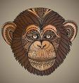 Hand drawn brown of ornate zentagle chimpanz vector image vector image