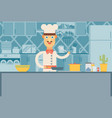 happy chef at the kitchen interior flat vector image vector image