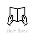 hold book icon editable line vector image