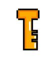isolated pixelated golden key icon vector image