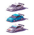 low poly touring racing car vector image vector image