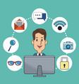 man business digital marketing online working vector image vector image