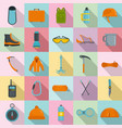 mountaineering equipment icons set flat style vector image vector image