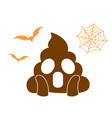 orange scary shit face flat icon with flying bat vector image vector image