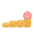 piggybank and coins tower money saving concept vector image vector image