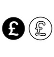 pound sterling currency symbol icon vector image vector image