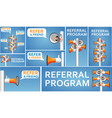 refer a friend banners with megaphone vector image vector image