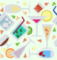 seamless pattern with cocktails flat vector image