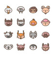 set filled outline animal icons vector image vector image