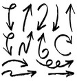 set hand drawn arrows doodle design vector image vector image