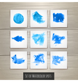 Set of Bright blue watercolor brush strokes vector image vector image