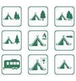 set of tylized icons of tourist tent vector image vector image