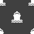 ship icon sign Seamless pattern on a gray vector image vector image