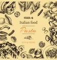 Sketch - pasta card italian vector image