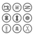 tailor accessories round black icons vector image