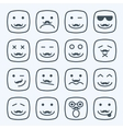 Thin line emotional moustache square yellow faces vector image