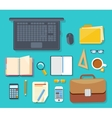 Top view of workplace with laptop and devices vector image vector image