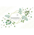 wedding greenery frame invitation card template vector image vector image