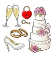 Wedding icons - cake rings glasses of champagne vector image vector image