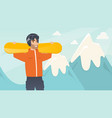 young caucasian sportsman holding skis vector image vector image