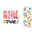 girl power lettering with girly doodles vector image