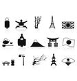 black japanese icons set vector image