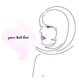 Girl in profile with pink lips vector image